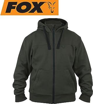 Fox Green Black Heavy Lined Hoodie Anglerpullover Warmer Hoody Angelpullover Pullover f/ür Karpfenangler Kapuzenpullover