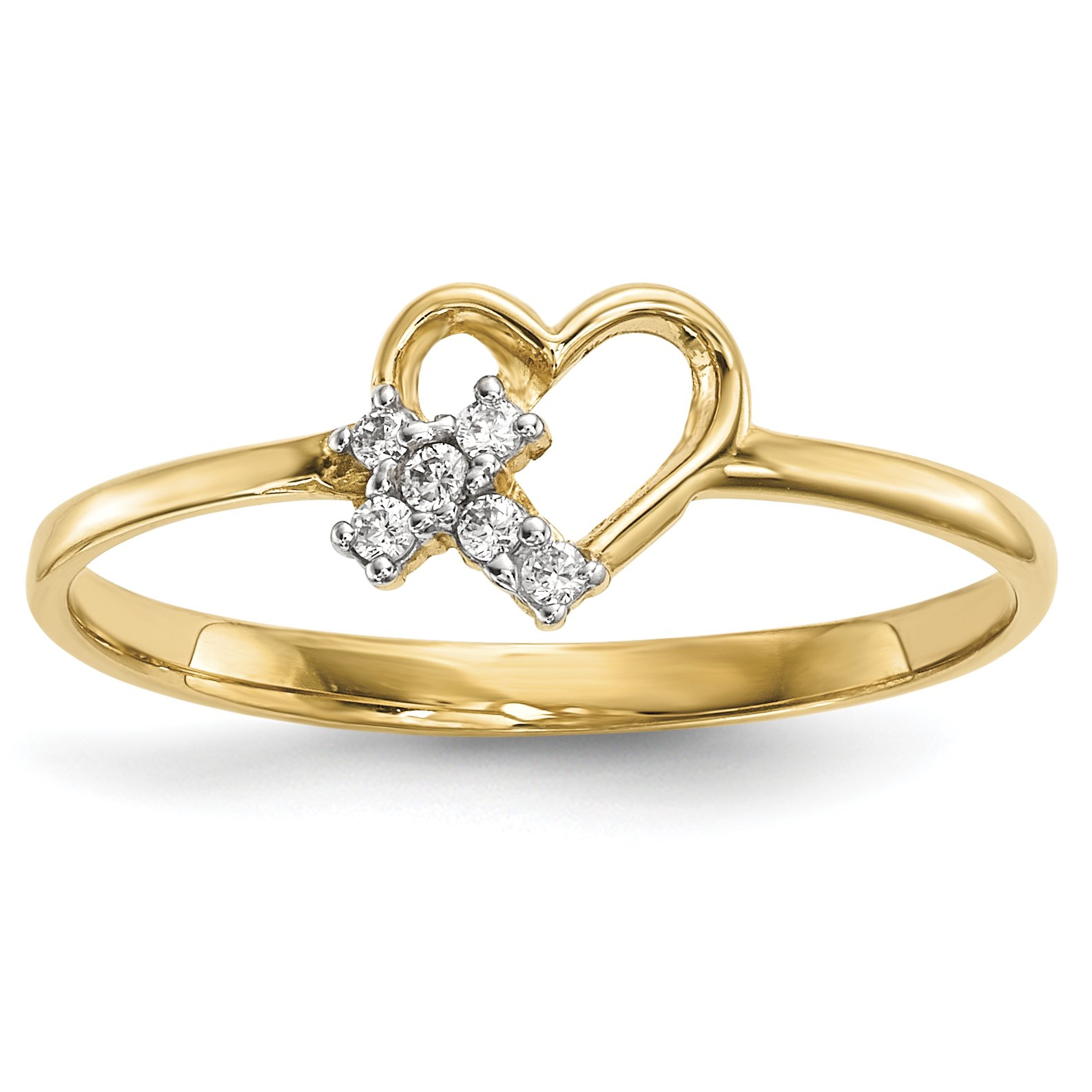 ICE CARATS 14k Yellow Gold Heart Cubic Zirconia Cz Cross Religious Band Ring Size 7.00 S/love Fine Jewelry Gift Set For Women Heart