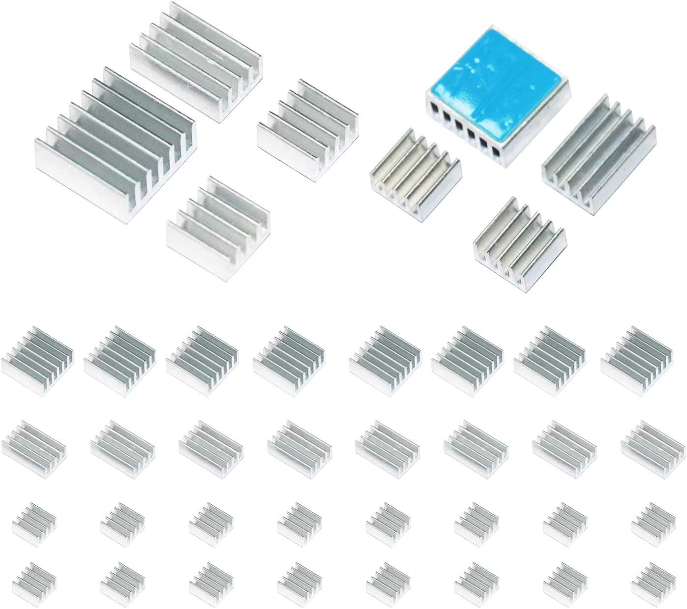 Smalloo 40 PCS Aluminum Heatsinks Kit with Thermal Conductive Adhesive Tape for Raspberry Pi/CPU/GPU VGA/RAM/VRAM/VRM/IC/Chips LED/MOSFET Transistor