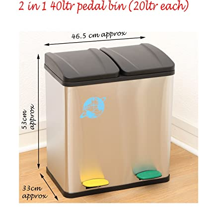 Helpful 45l Stainless Steel Multi 3 Compartment Large Recycle Pedal Bin Recycling Office Latest Technology Home & Garden Trash Cans & Wastebaskets