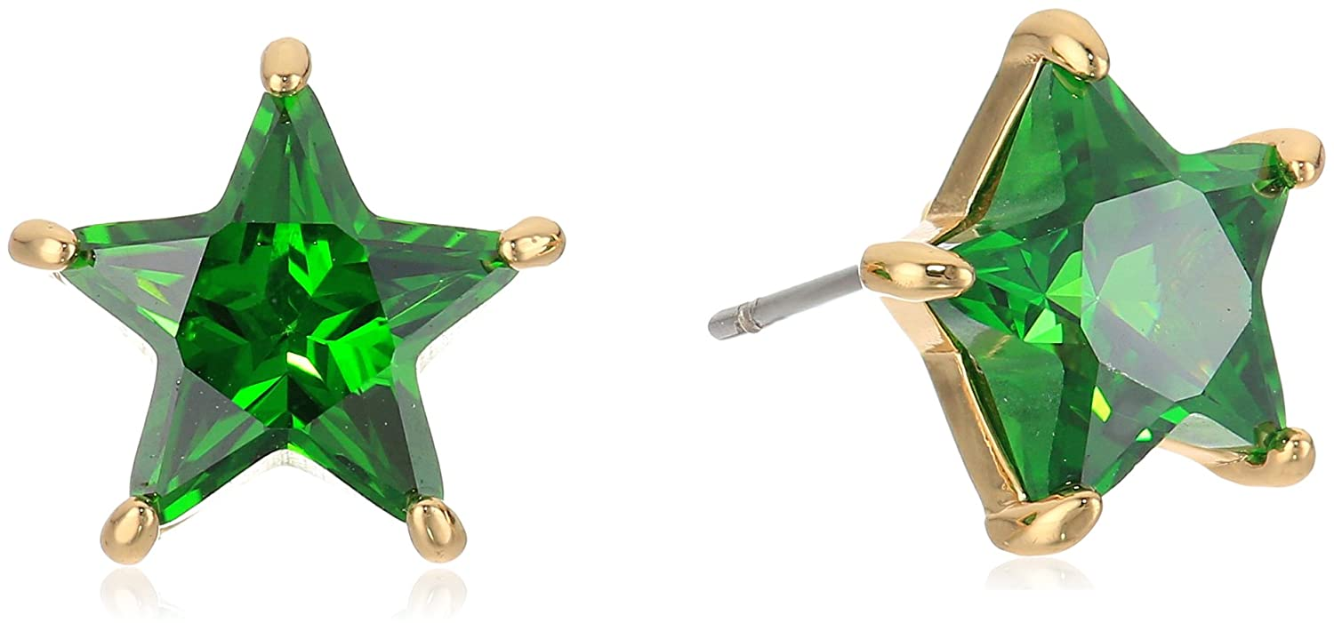 Betsey Johnson Gold and Green Cubic Zirconia Star Stud Earrings