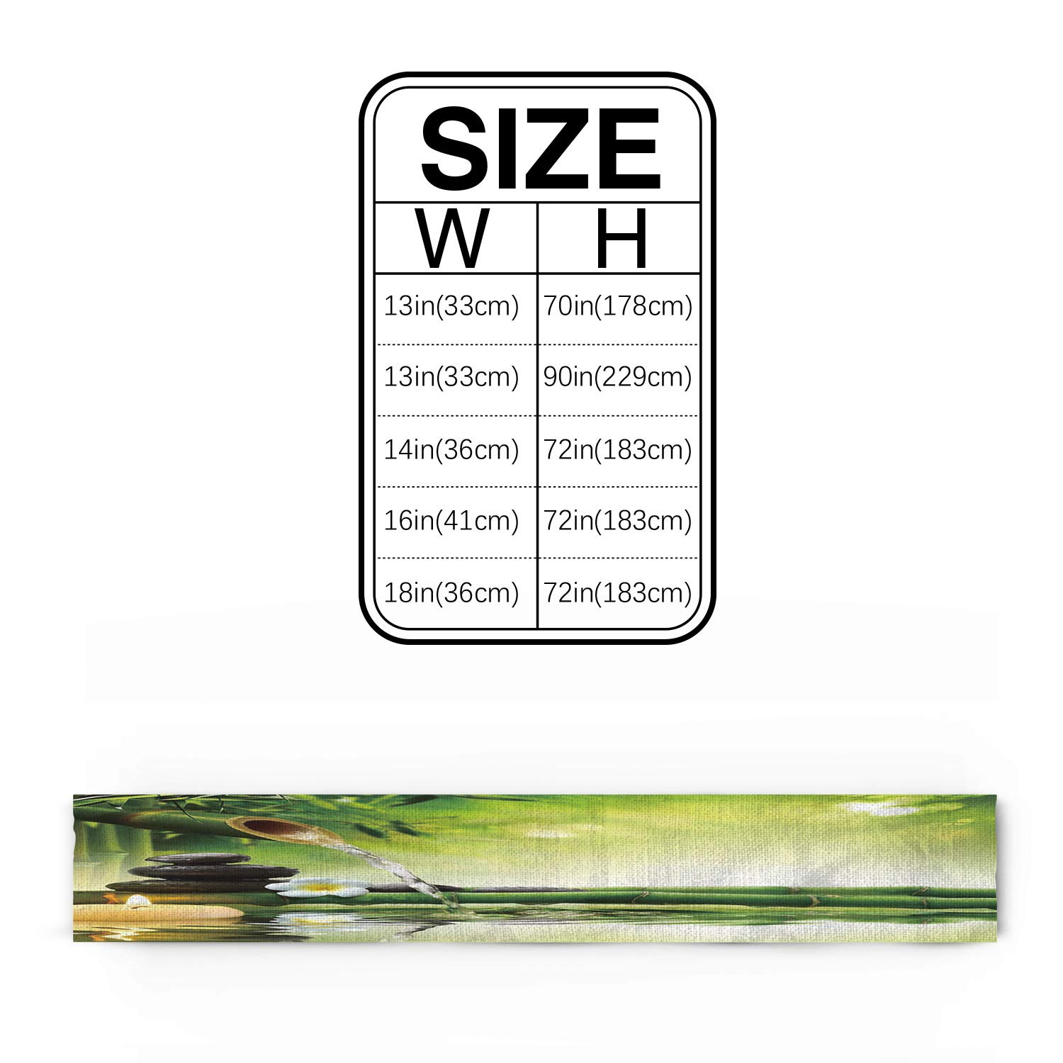 WAZZIT Spa Decor Cotton Table Runner - Perfect for Summer Holiday Parties and Everyday Use 14x72inch, Zen Garden Theme Jasmine Flower Bamboos by WAZZIT (Image #3)