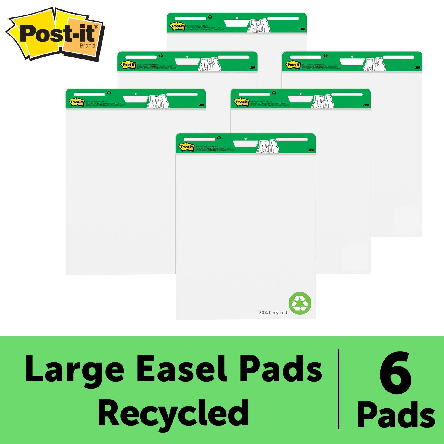 Post-it Super Sticky Easel Pad, 25 x 30 Inches, 30 Sheets/Pad, 6 Pads (559RP-VAD6), Large White Recycled Premium Self Stick Flip Chart Paper, Super Sticking Power by Post-it