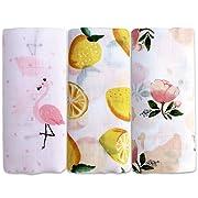 Aimotec Muslin Swaddle Blanket 47 X 47 Inch Soft Bamboo Fabric Baby Swaddle Blanket Flamingo/Flower/Orange - Unisex, Set of 3