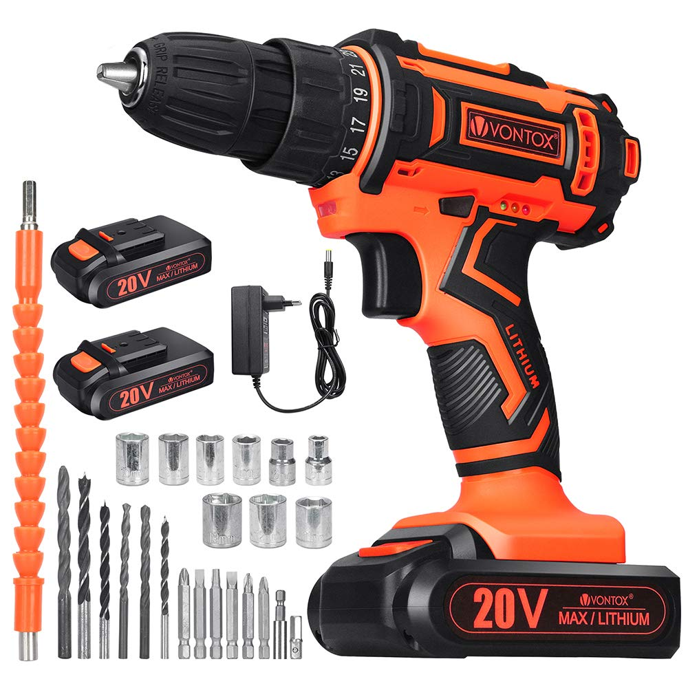 V VONTOX Cordless Drill 20V Power Drill, 42N.m, 2x2000mAh Batteries, 1H Fast Charger, 3 8 inch Chuck, 2 Variable Speed, 18 1Torque Setting, with 24pcs Drill Bits Set