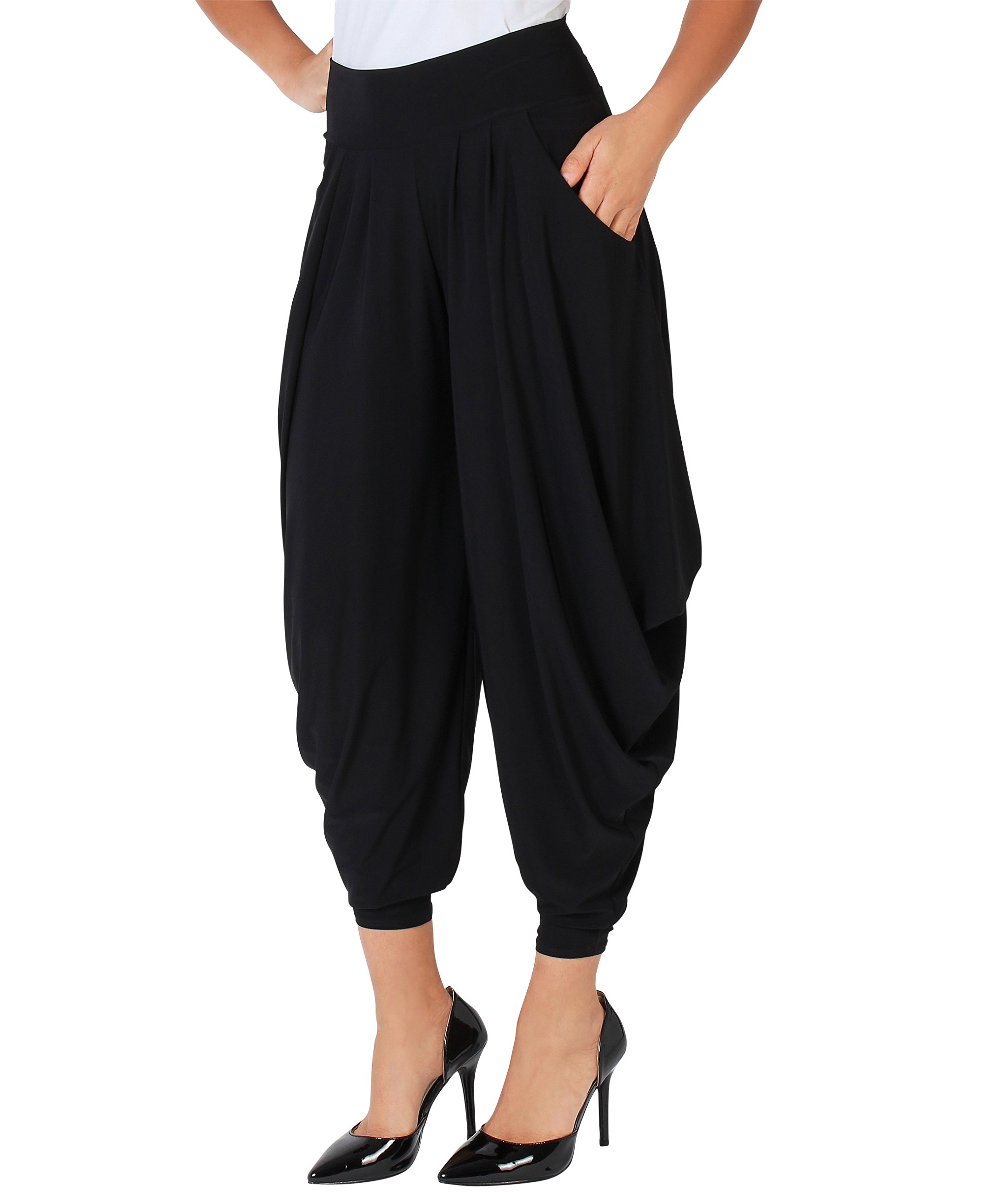 KRISP Harem Pants (Black, 12),[8328-BLK-16.1]