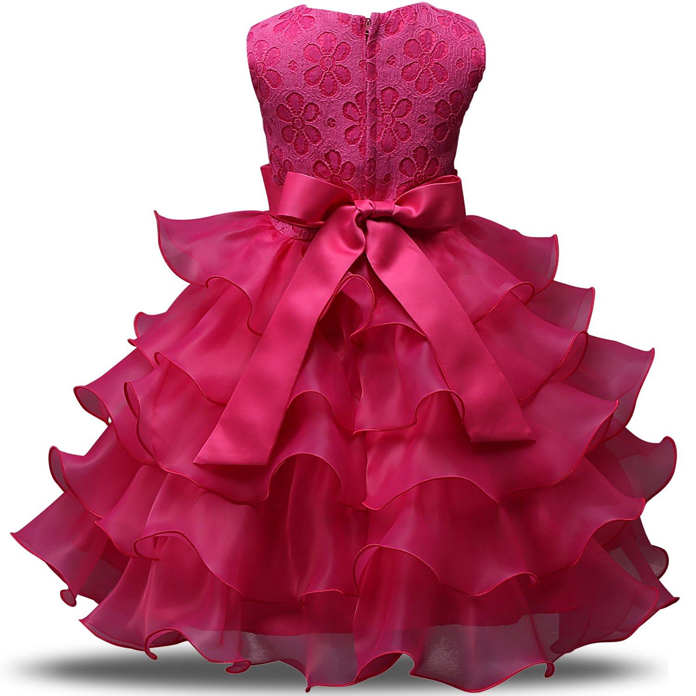 cc15ef88476f Bambini Per Pizzo Vestito Rosa Abiti Da In Colore Festa Ragazza Nnjxd Sposa  Yfg6v7by