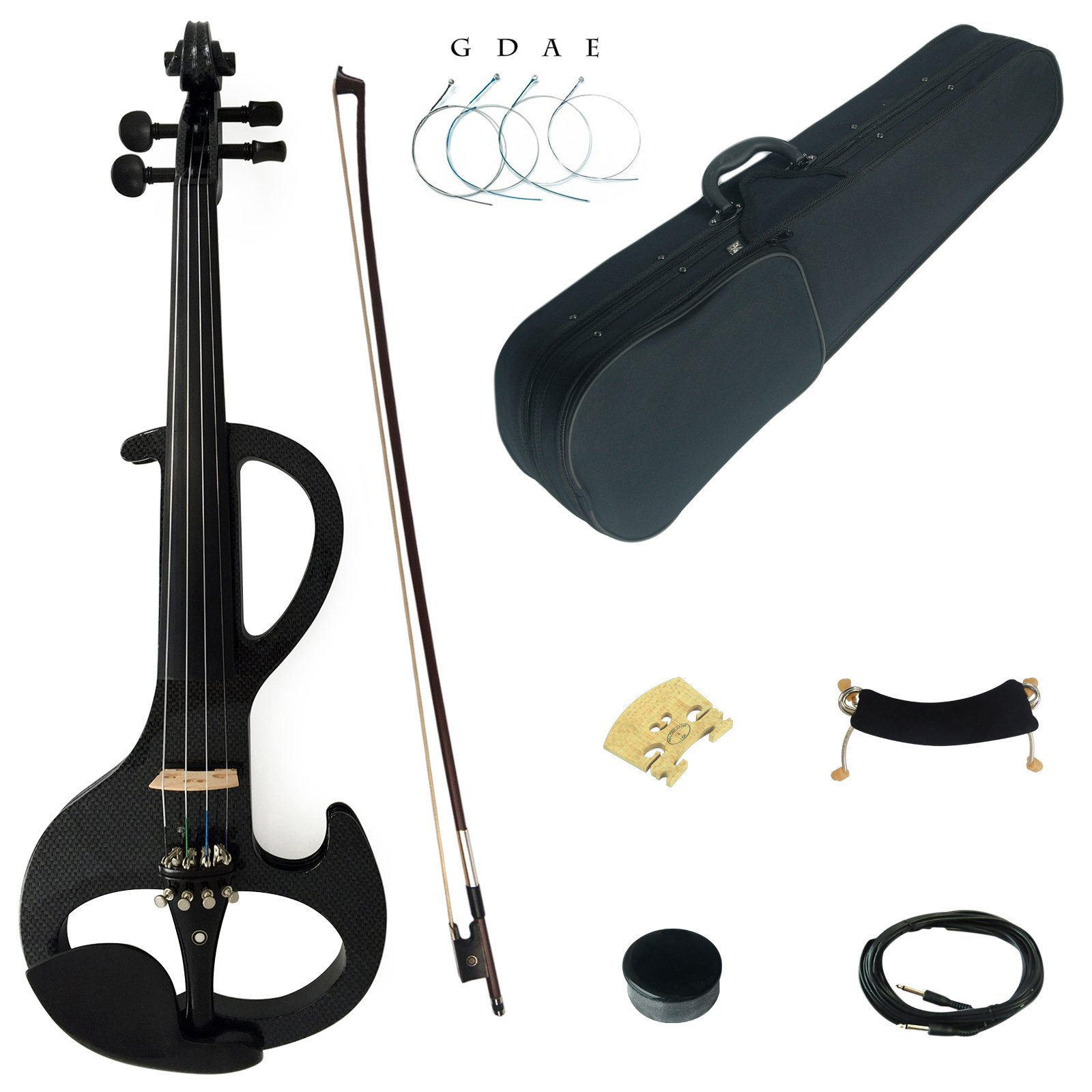 Kinglos 4/4 Black Grid Colored Solid Wood Intermediate-A Electric / Silent Violin Kit with Ebony Fittings Full Size (DSZA1311) by Kinglos