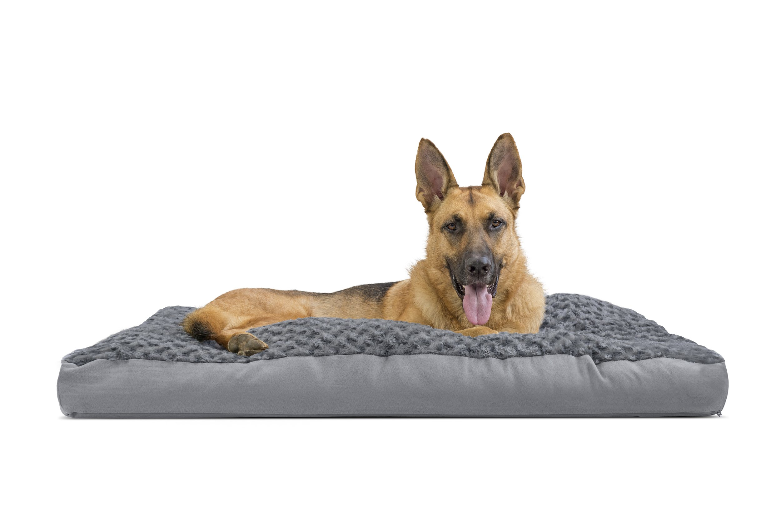 FurHaven Pet Dog Bed | Deluxe Ultra Plush Pillow Pet Bed for Dogs & Cats, Gray, Jumbo