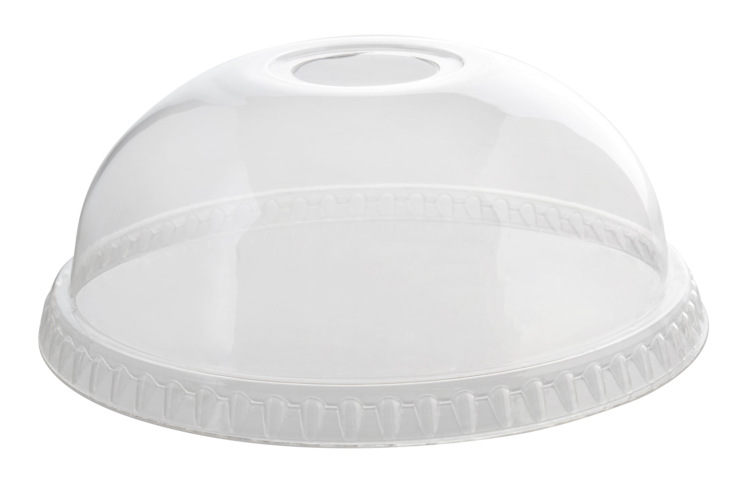 Fineline 31115DLH Dome Lid, W/Hole, 115 mm - 1000/Cs (100 x 10), Clear