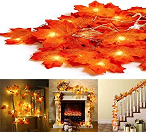 2 Pack Fall Maple Leaves String Lights,20 Feet 40 LED Waterproof Maple Leaf Garland Lights,3AA Battery Powered Decorations Lights for Indoor Outdoor Autumn Harvest Thanksgiving Christmas Decor