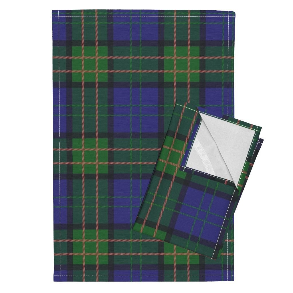 Roostery Tartan Plaid Preppy Scotland Scottish Blue Green Tea Towels Highland Games Tartan by Peacoquettedesigns Set of 2 Linen Cotton Tea Towels