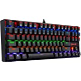 Redragon K552-R Mechanical Gaming Keyboard 87 Keys Small Compact Rainbow Backlit Keyboard USB Wired Kumara with Blue Switches Metal Construction for Windows PC Game - Black [Rainbow]