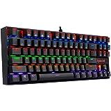 Mechanical gaming keyboard ergonomic tenkeyless Redragon K552-R RGB LED rainbow backlit for pc with Blue switch (Black)