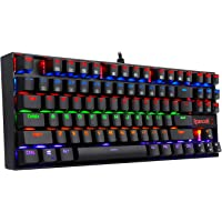 Redragon K552 Mechanical Gaming Keyboard, RGB Rainbow Backlit, 87 Keys, Tenkeyless, Compact Steel Construction with Cherry MX Blue Switches for Windows PC Gamer (Black)