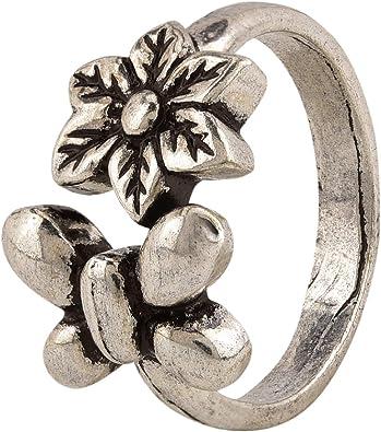 Efulgenz Boho Vintage Gypsy Indian Oxidized Gold Silver Om Statement Big Size Adjustable Cocktail Ring Jewelry