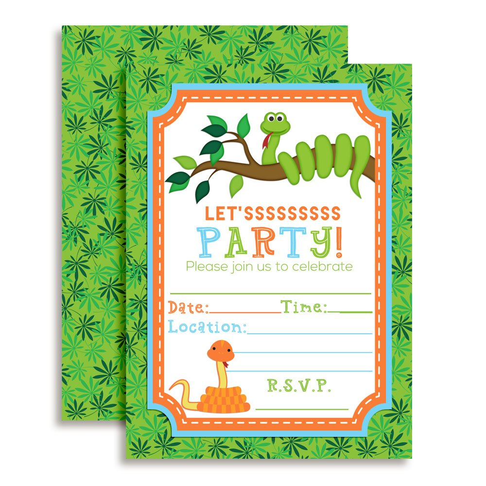 Snake Themed Birthday Party Celebration Fill In Invitations set of 10