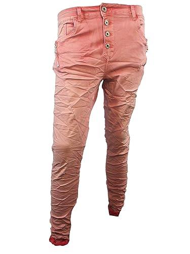 Zip Denim Stretch Baggy-Jeans boyfriend schräge Naht 4 Knöpfe offene Knopfleiste