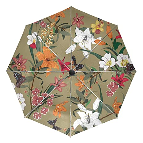 bf1b583980c3 Amazon.com: ATZUCL Flowers and Butterfly Umbrella Folding Automatic ...