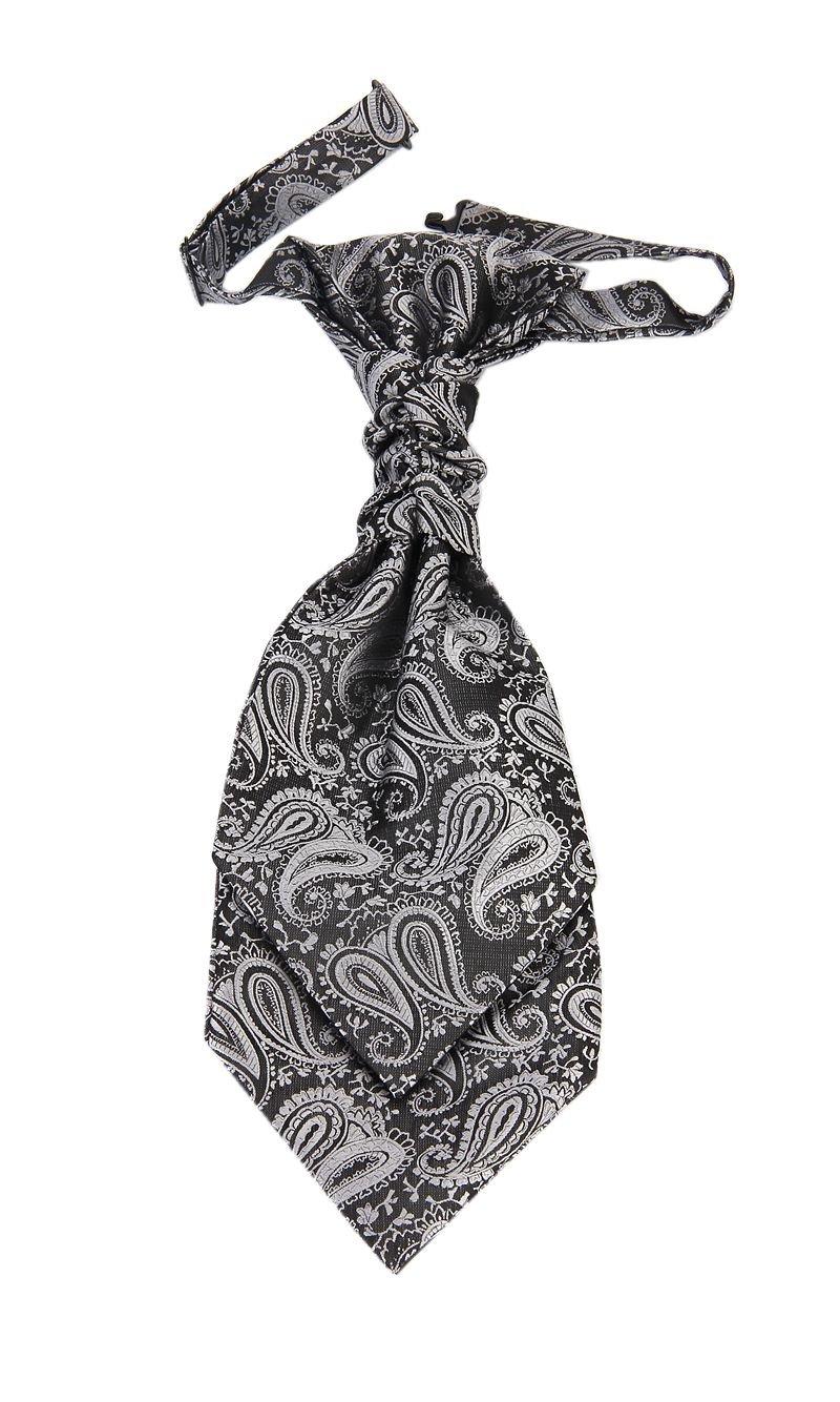 Hello Tie Pre-tied Microfiber Ascot Ruche Paisley Cravats Tie for Men