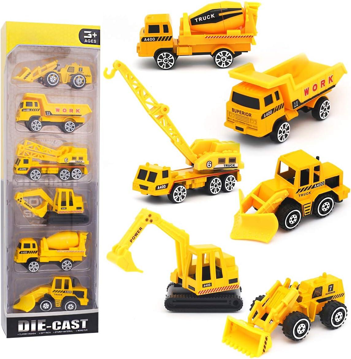 Pequeños Camiones de Juguete Vehículos Excavadora de Aleación Juego de Autos para Niños 3 4 5 años