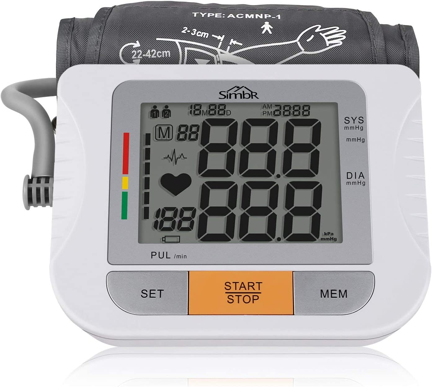 SIMBR Tensiómetro de Brazo Digital Monitor de Presión Arterial con Memoria (2 * 90) Certificada por FDA CE ROHS con Manguito Largo de 22-42cm