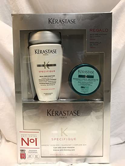 Kerastase Aminexil 42 amp, baño prevention 250ml, mascarilla force architecte 75ml