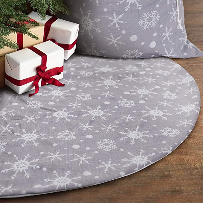 Grey Tree Skirt with White Snowflakes