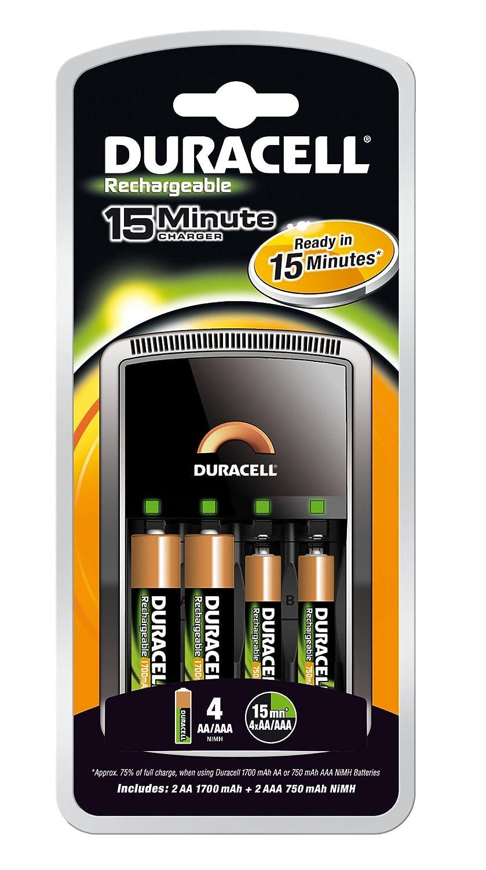 Duracell CEF15-UK - Cargador (Negro, Cargador de baterías ...