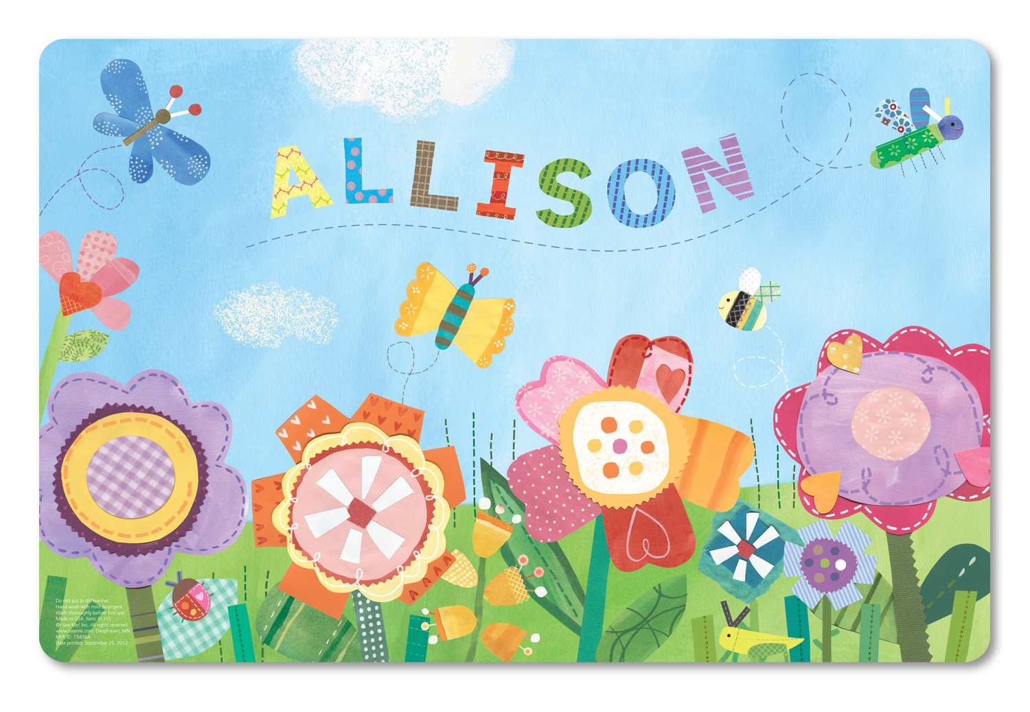 Personalized Placemat for Kids Craft Mat Flowers by I See Me!