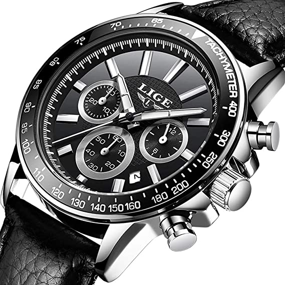 Relojes Hombres,LIGE Impermeable Cronógrafo Deportivo Reloj Analógico de Cuarzo Correa de Cuero Esfera Negro Fecha Moda Casual Relojes de Pulsera: ...