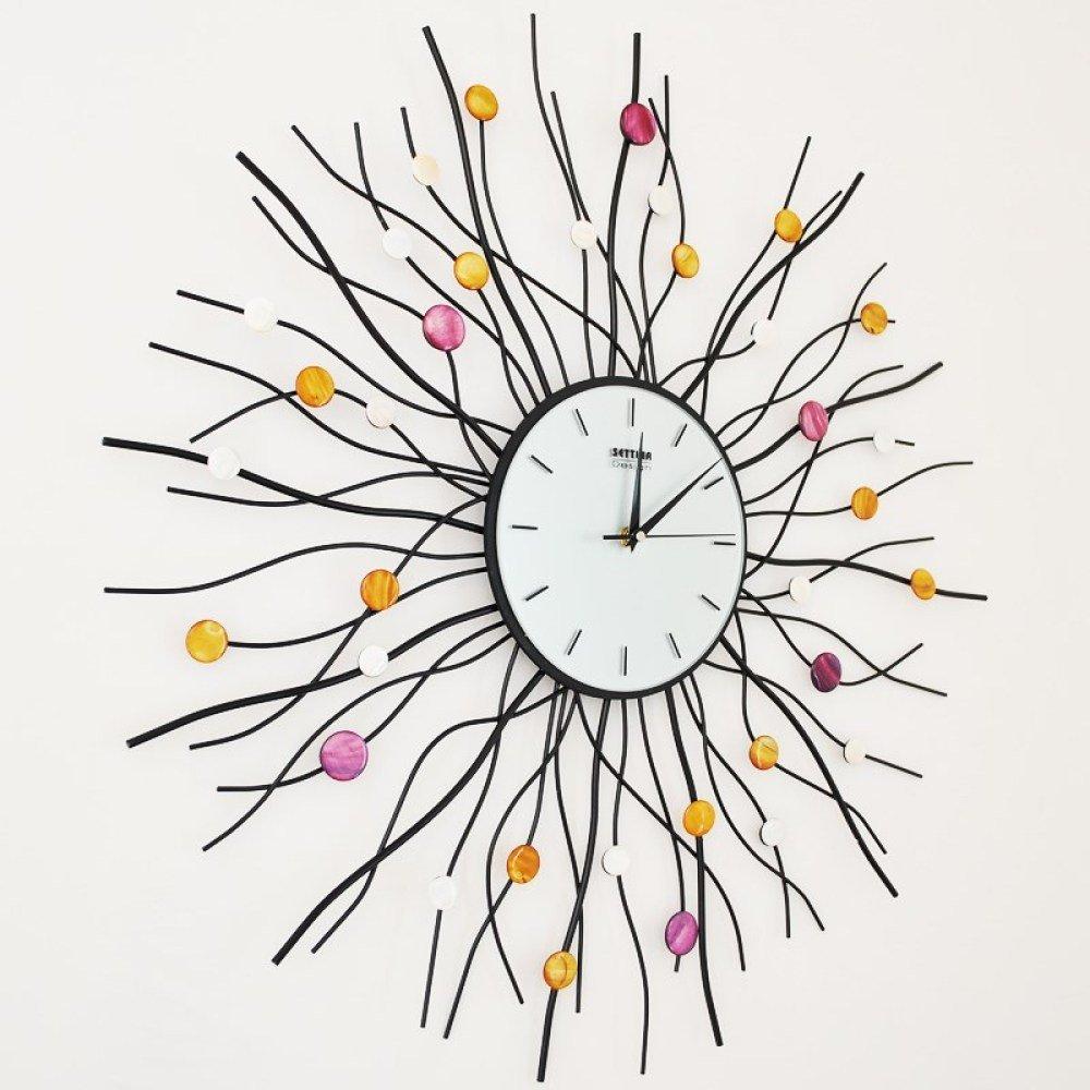 WAZY ウォールクロックファッションクリエイティブ鍛造鉄の家の装飾ミュート時計(黒70 * 70センチメートル1のパッキング) B07FGFT5P2