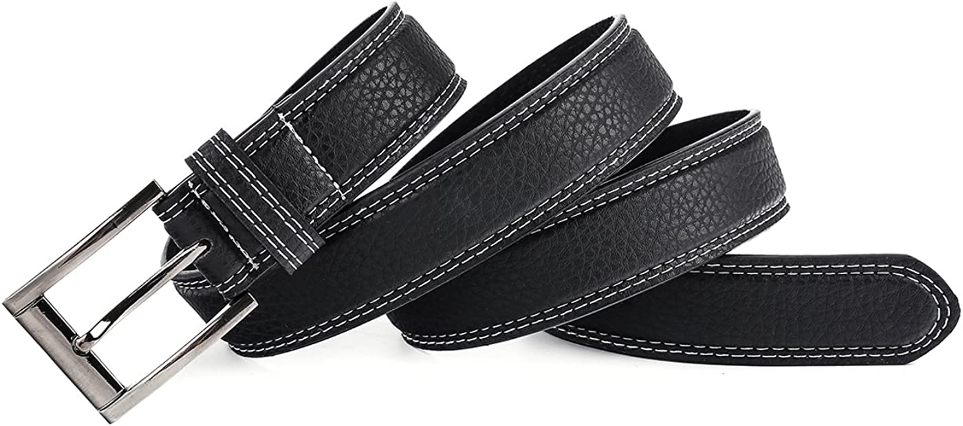 Shang Zun Mens Black Casual Belt with Buckle