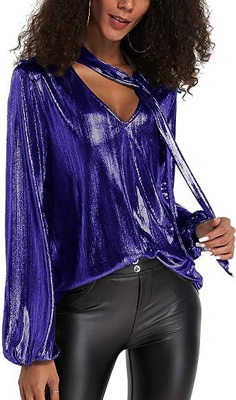 YOINS Camiseta Manga Larga Mujer Camisa Cuello V Blusa Brillante Metálico Sexy Tops Mangas Acampanadas: Amazon.es: Ropa y accesorios
