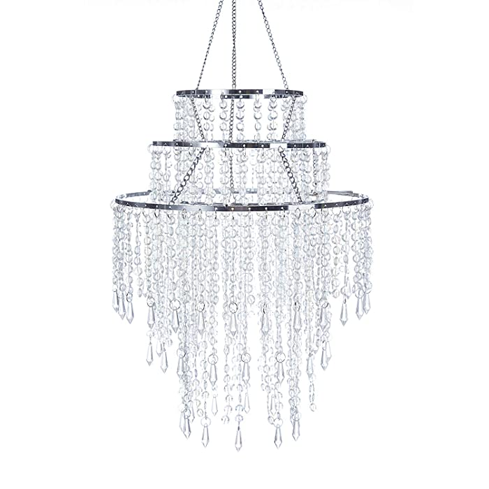"SUNLI HOUSE 3 Tiers Sparkling Acrylic Iridescent Beaded Pendant Shade, Ceiling Chandelier Lampshade with Chrome Frame,12""Diameter,Bulb is NOT Included"
