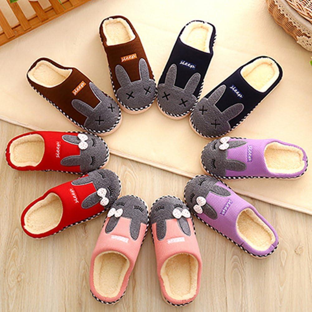SAGUARO/® Automne Hiver Pantoufles Coton Peluche Chaussons Doublure Int/érieure Douce Mules Femme Homme Accueil Slippers Chaussures