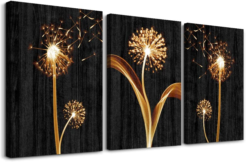 Canvas Wall Art For Living Room Bedroom Wall Decor Bathroom Decorations 3 Piece Framed Canvas Art Fashion Black Wood Grain Abstract Paintings Dandelion Flower Pictures Artwork Kitchen Home Decoration