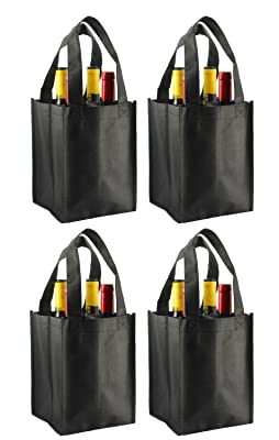 Reusable Non-Printed Wine Tote- 4 Pack