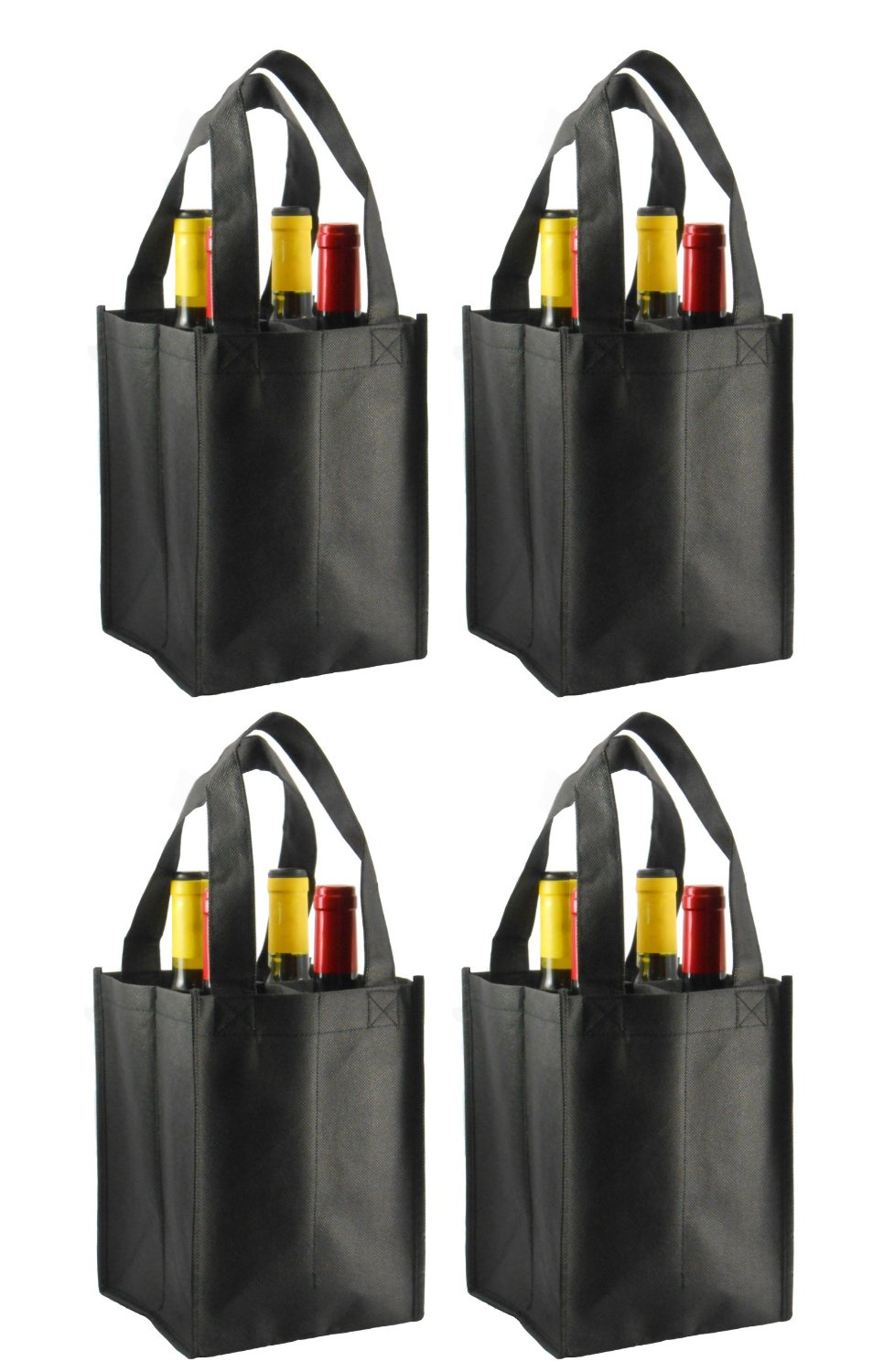 - Reusable Non-Printed Wine Tote- 4 Pack (Black, 4 Bottle)