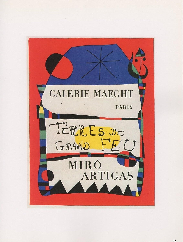 """1989 VINTAGE /""""TERRES DE GRAND FEU/"""" MIRO MOURLOT MINI POSTER COLOR Art Lithograph"""