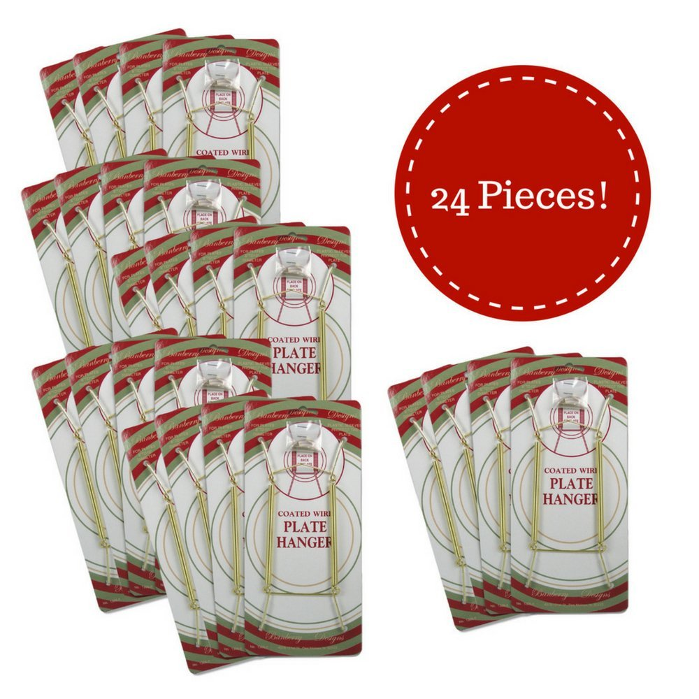 Banberry Designs Brass Vinyl Coated Plate Hanger 5 to 7 Inch Plates - Set of 24 - Includes Hook and Nail for Hanging by BANBERRY DESIGNS