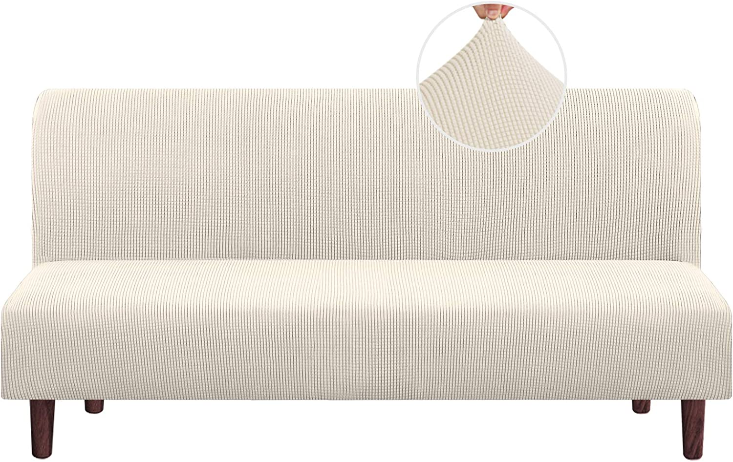 Stretch Armless Futon Cover Futon Slipcover Full Queen Size Futon Couch Cover Futon Sofa Cover Futon Bed Cover Furniture Protector with Elastic Bottom, Checked Pattern Jacquard (Futon, Biscotti Beige)