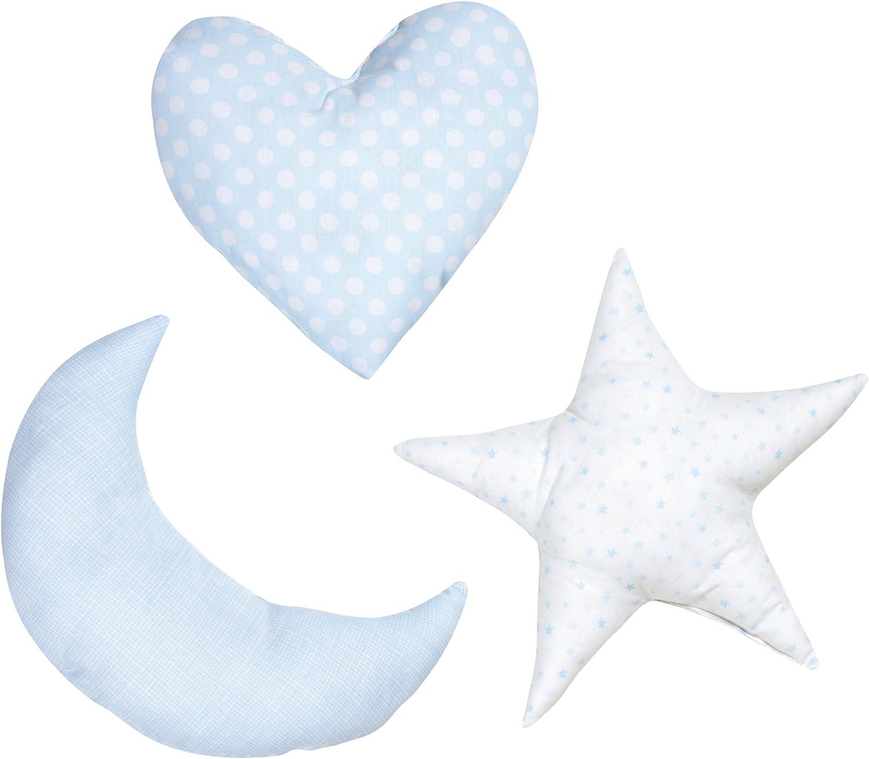 Praia Piu Piu - Pack de cojines, 3 piezas: corazón, luna y ...