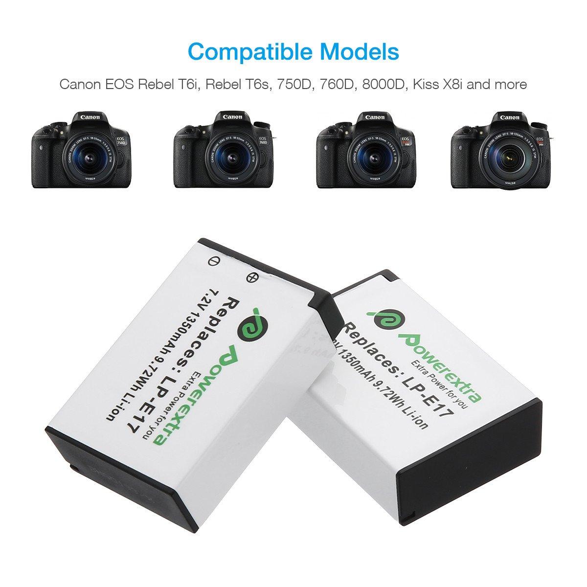 PATONA Dual Cargador LP-E17 para Bater/ía Canon EOS 750D 760D 8000D Kiss X8i M3 Rebel T6i T6s con micro USB