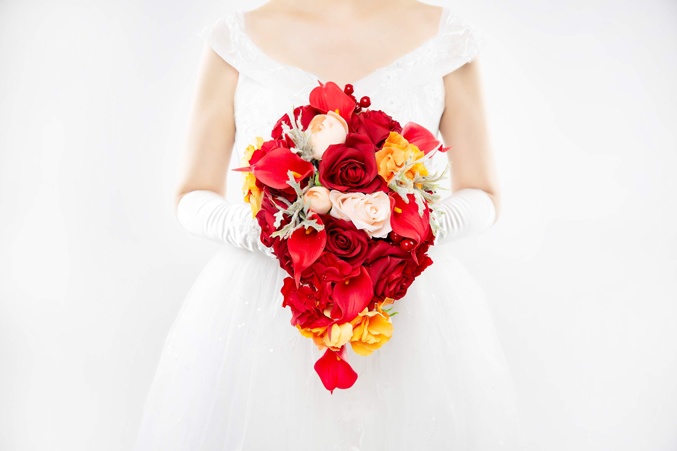Abbie Home Cascaded Red Rose Bridal Bouquets - Pink Peony Calla Lily Wedding Flowers in Large Size (A Cascading Bouquet) by Abbie Home