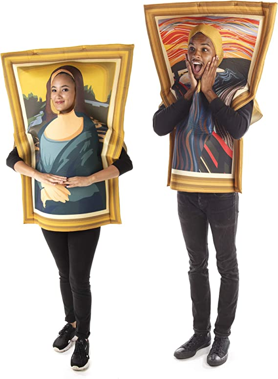 Famous Paintings Couples Costume - Funny Mona Lisa & Scream Halloween Outfits