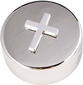 Round Plated Non-Tarnish Nickel Cross Rosary Box