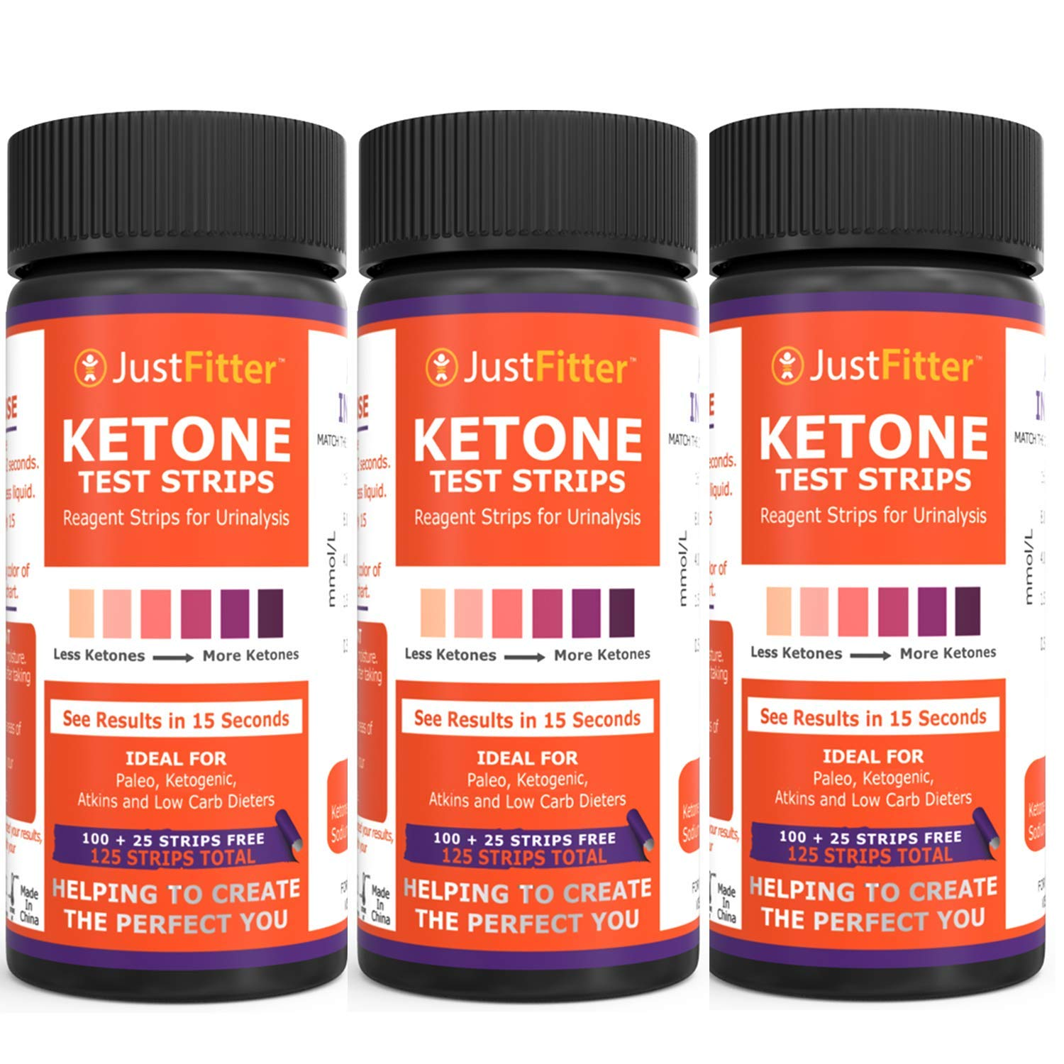 Ketone Keto Urine Test Strips. Look & Feel Fabulous on a Low Carb Ketogenic or HCG Diet. Get Your Body Back! Accurately Measure Your Fat Burning Ketosis Levels by Just Fitter