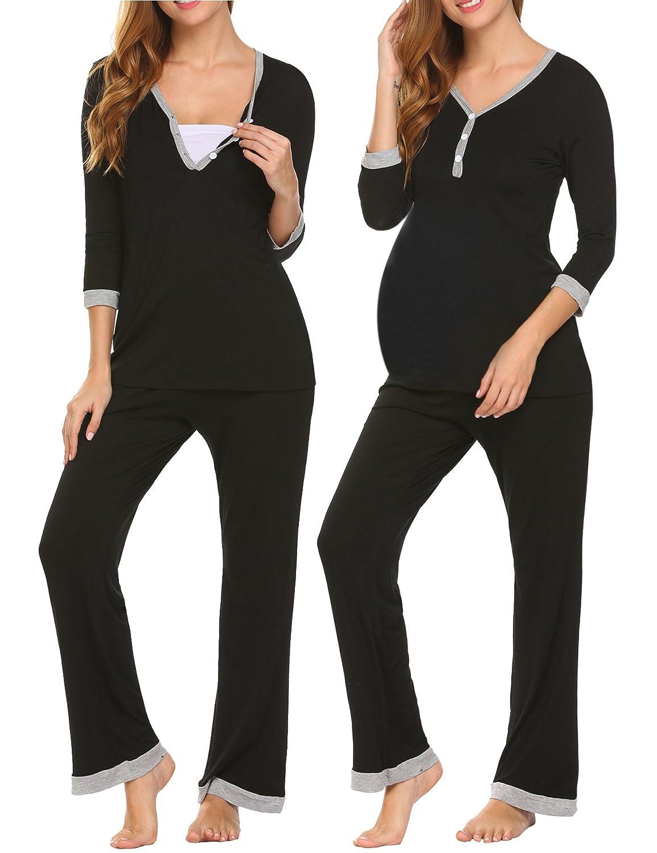 eebd718465fbb MAXMODA Women's Maternity Nursing Pajamas Set Sleepwear Soft Pregnancy  Breastfeeding Hospital PJ Set S-XXL at Amazon Women's Clothing store: