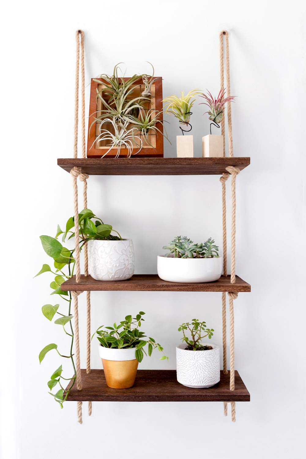 Mkono Wood Hanging Shelf Wall Swing Storage Shelves Jute Rope Organizer Rack, 3 Tier - This wood hanging shelf is the perfect storage and decorate shelf for many rooms in the home. Living room for organize your books, lovely plants or candle, kitchen for storage spices or coffee cups, bathroom to hold towel, makeup or nail polish, bedrooms for display photo frames and mementos. Material: Paulownia wood, jute rope, strong and durable. The props in the picture are not included. Can be installed in window or wall space and incorporated easily into any space, like hang it in store to organize special item. Or will be fun in a garden or porch setting to hold your plants! - wall-shelves, living-room-furniture, living-room - 71FYwUGLcKL -